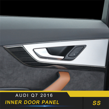 For Audi Q7 4M 2016 2017 2018 Car Styling Inner Door Handle Panel Cover Trim Frame Sticker Chrome Interior Accessories
