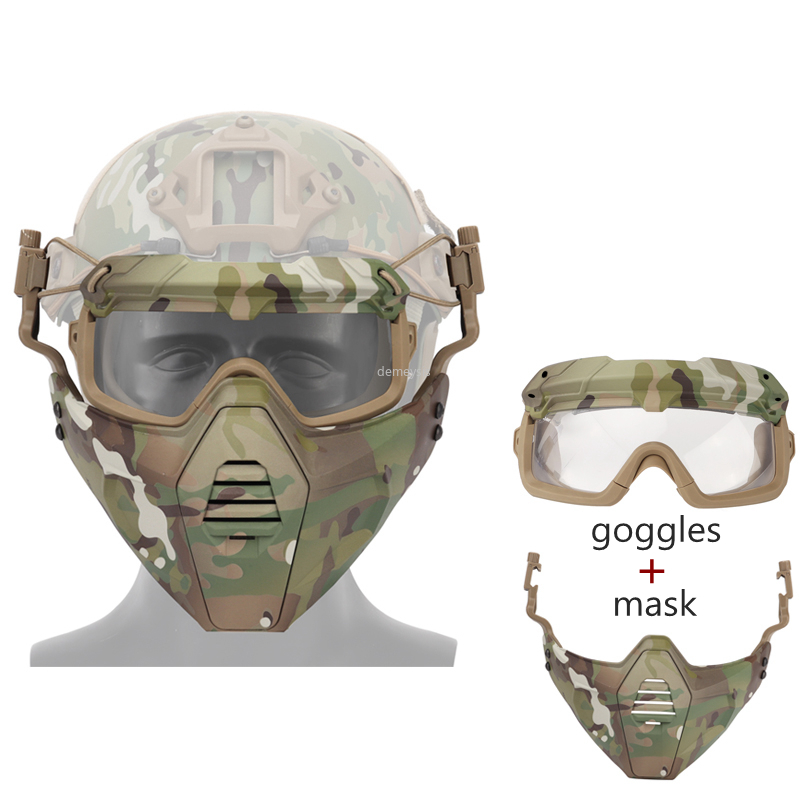 Men's Army Tactical Mask Goggles Shooting Hunting Protection Mask With Goggles Military Airsoft Paintball Sports Masks & Goggles