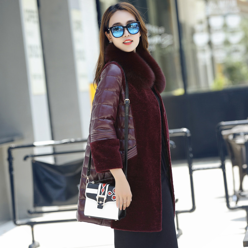 Fox Real Fur Coat 100% Fur Collar Genuine Leather Sheepskin Down Jacket Women Winter Natural Long Wool Overcoat Plus Size M-6XL