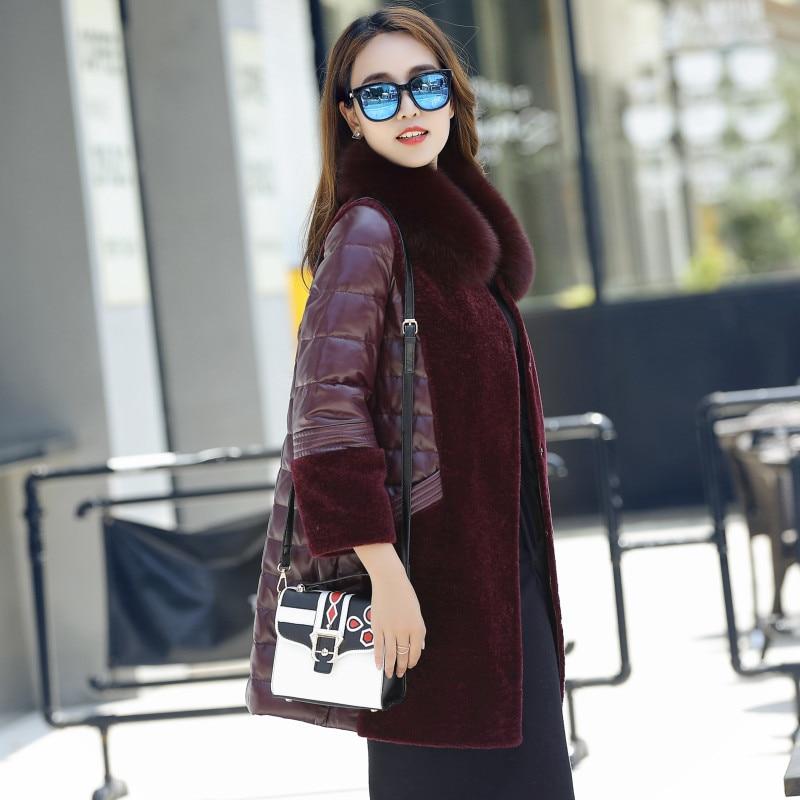 Fox Real Fur Coat 100% Fur Collar Genuine Leather Sheepskin Down Jacket Women Winter Natural Long Wool Overcoat Plus Size M-6XL
