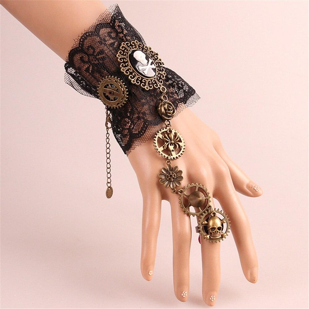 Cosplay Medieval Retro Steam Gothic Court Mechanical Pirate Bracelet Women Queen Vampire Bracelet Halloween Props