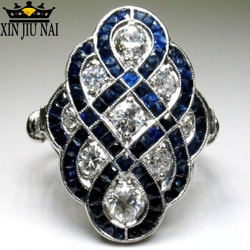 925 Anillos Silver Vintage White Stone Rings For Women Ring Dark Blue Enamel. Epoxy Ring Luxury Jewelry Bague Femme Girl Mujer