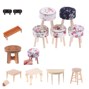 1/12 Scale Dollhouse Miniature Wooden Table Furniture Round Floral Stool Chair for Dolls House Decor Kids Pretend Play Toy