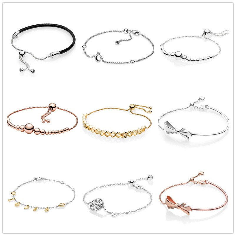 925 Sterling Silver Brilliant Bow Ball Clasp Adjust Bracelet Bangle Fit Women Bead Charm Diy Fashion Jewelry