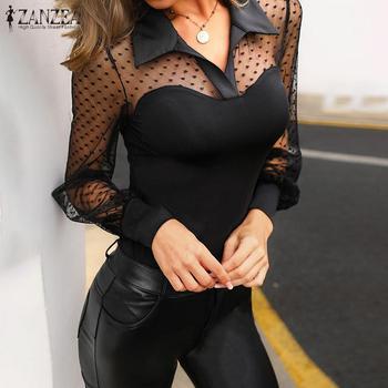 Women's Lace Patchwork Blouse ZANZEA Sexy Transparent Tops Casual Long Sleeve Summer Blusa Female Lapel Tunic Plus Size Tunic 7