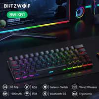 BlitzWolf Inalámbrico Bluetooth Teclado mecánico Interruptor Gateron RGB 63 Disposición de teclas Tipo-C Con cable Gaming Gamer Rojo Negro Marrón Interruptor Teclado mecánico personalizado para PC Mini tableta