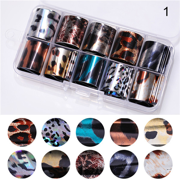 1 Box Laser Nail Foil Stars Seashell Pearl Marble Nail Transfer Stickers Tips DIY Holographic For Nail Art Decorations
