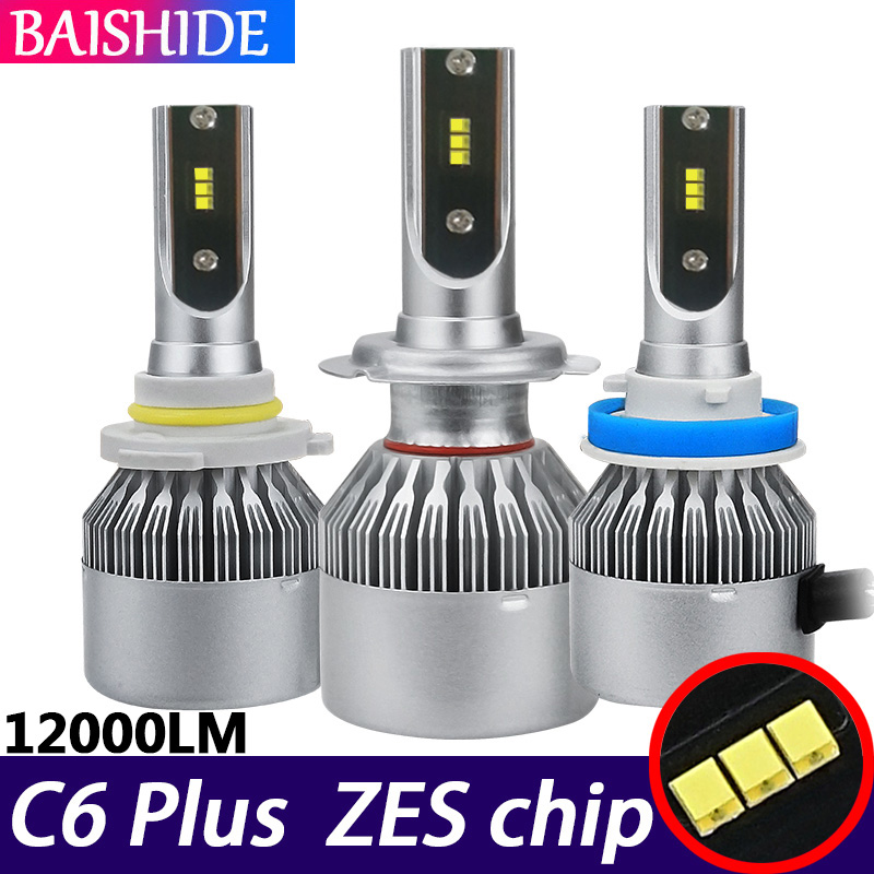 BAISHIDE ZES chip H4 <font><b>LED</b></font> H7 4500K 8000K 6500K <font><b>H1</b></font> H3 H8 H9 H11 9005 HB3 9006 HB4 60W 12000LM Auto Fog Light 12V <font><b>C6</b></font> Car <font><b>Headlight</b></font> image