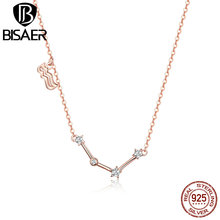 BISAER Aquarius Necklace 925 Sterling Silver Constellation Series Gold Color Pendant Women Pisces Cancer Scorpio GAN016