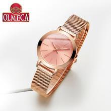 цена на OLMECA Women's Business Wrist Watch Water Resistant Quartz Watches Fashion Mesh Band Drop-Shipping Women Watches Reloj Mujer