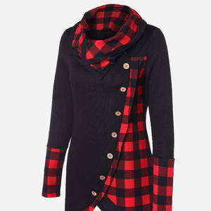 Women's Hoodies Coats Pullovers Turtleneck Collar Patchwork Female Winter Plaid Top Scarf