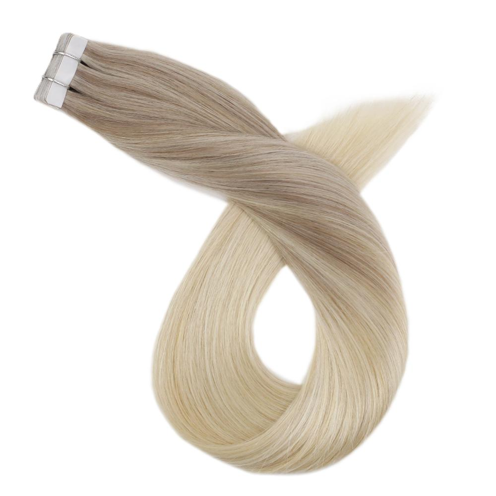 PU Skin Weft Tape In Human Hair Extensions Machine Remy Balayage Ombre Blonde Color 14-24inch Glue In Real Hair Tape Ins