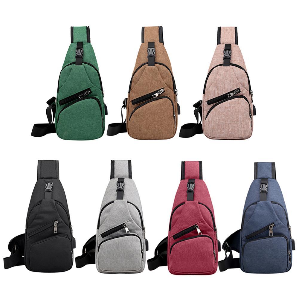 Male Leisure Sling Chest Pack Crossbody Bags for Men Messenger Canvas USB