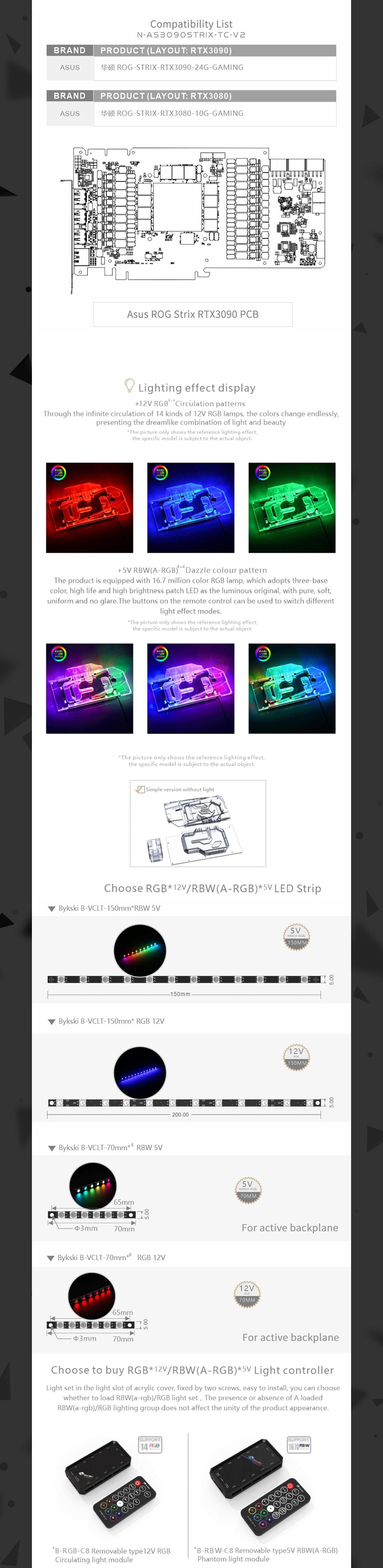 Bykski GPU Block With Active Waterway Backplane Cooler For ASUS ROG STRIX RTX 3090 3080 Gaming , N-AS3090STRIX-TC-V2
