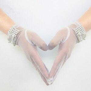 Image 2 - JaneVini High Quality Bridal Gloves Women Elegant Pearls Short Tulle Gloves Full Finger White Wedding Gloves Gant Blanc Adulte