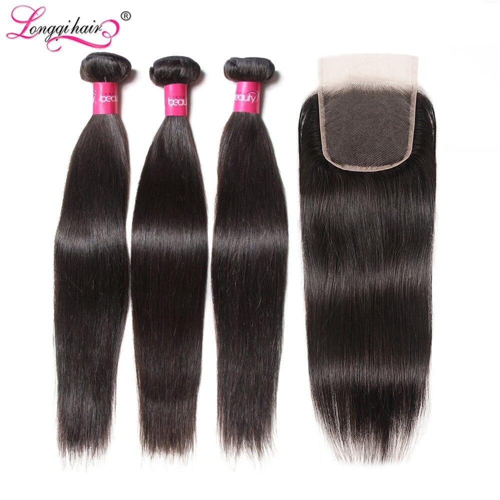 Mechones de pelo liso con cierre extensiones de pelo ondulado mechones pelo Remy 3 mechones con cierre pelo humano Longqi