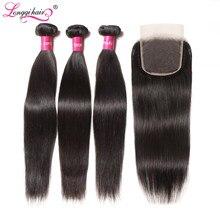 Tissage en lot brésilien naturel Remy avec Closure – Longqi, cheveux lisses, lots de 3