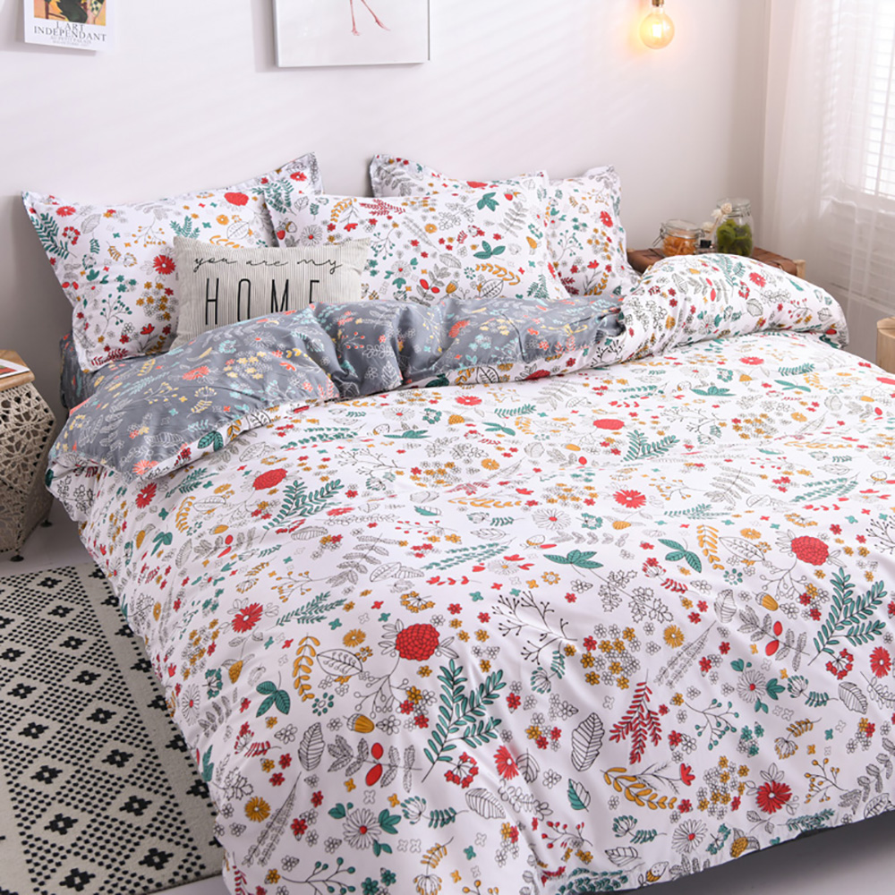 Thumbedding Plants Bedding Set Single Fresh White Colorful Leaves Duvet Cover Nature King Queen Full Twin Unique Design Bed Set