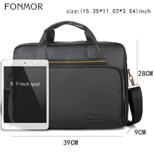 Image 2 - Fonmor Men Genuine Leather Briefcase 15.6Laptop Messenger Bags Female Business Crossbody Shoulder Bags Casual Tote Handbag New