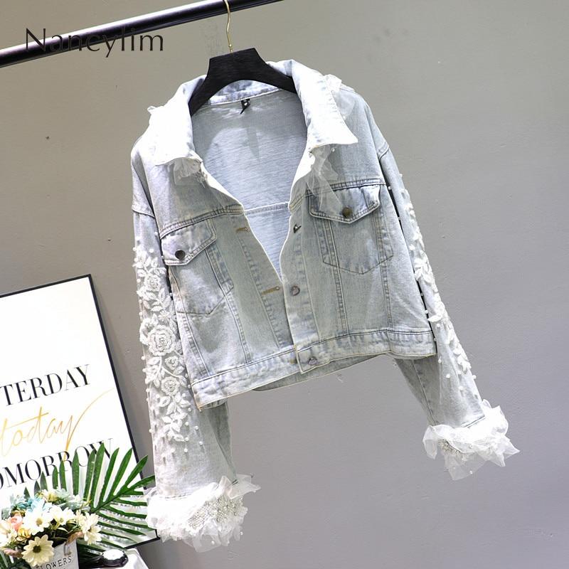 Bleu clair Denim manteau femmes printemps automne 2019 nouvelle mode dentelle couture fleur broderie lâche court Denim veste filles dame