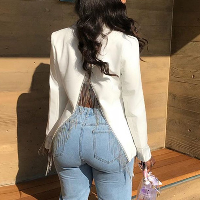 Women Tassels Blazer Back Split Slim Elegant Long Sleeve Notched Collar Ladies Coats Blazers 2020 Autumn Female Casual Outwear