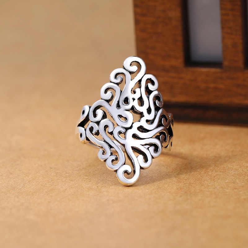 2019 Bijoux כסף מצופה גדול פרח טבעות לנשים חג המולד מתנות מתכוונן להרחיב טבעת גבירותיי Boho תכשיטי Anillos