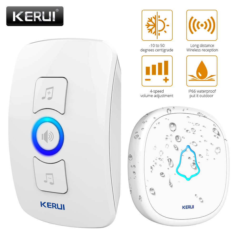 KERUI M525 Waterproof DoorBell 32 Music Options 500ft Transmission  Wireless Door Bell With 23A 12V Battery Color White Doorbell