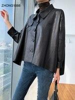 short Women's leather leather square collar sleeve 2020 spring new single leather sheepskin jacket small coat Korean