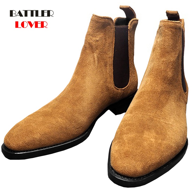 Mens Boots Men Chelsea Boots Ankle Boots Plus Velvet High-top Martin Boots Outdoor Walking Shoes Man Wear Resistant Casual Shoes