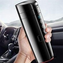 Copo de café elétrico do curso do aço inoxidável da caneca de água com cabo 400ml copo de aquecimento do carro temperatura em tempo real 12v aquecida