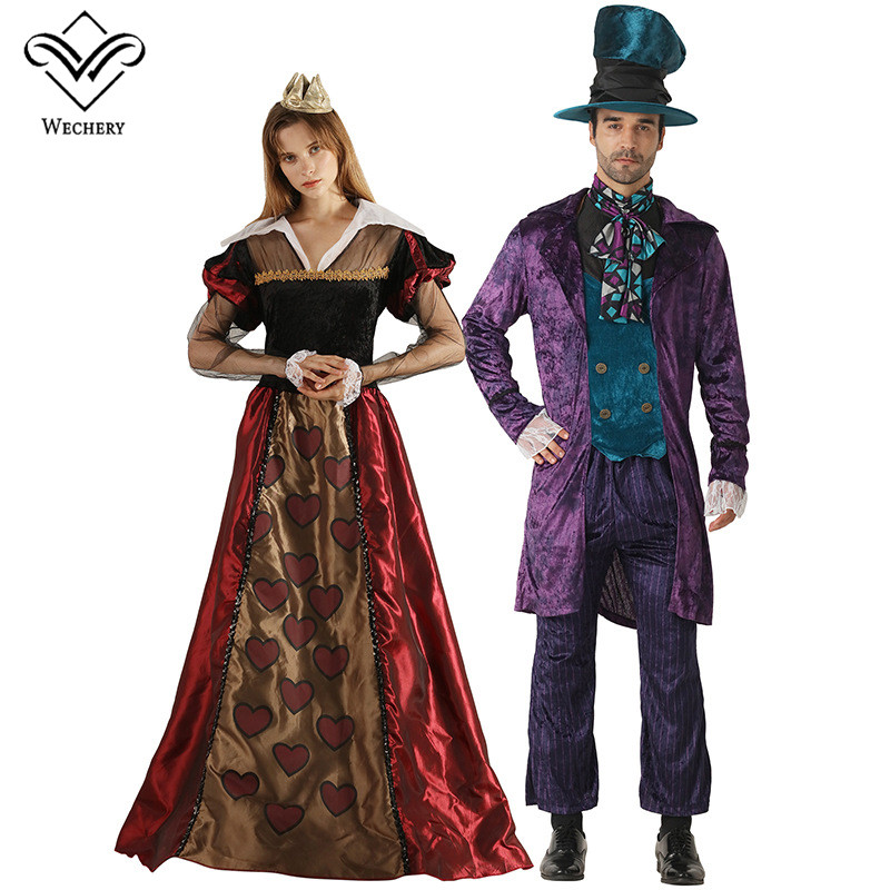 Wechery King Queen Couple Cosplay Unisex Halloween Costumes For Women Cosplay Costume Male Party Holiday Clothes Dresses&Suits image