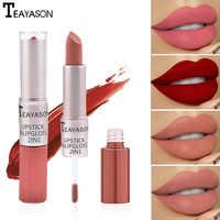 Double Head Matte lipstick Liquid set waterproof silk velvet long lasting rouge red lip stick 24 hour nude gradient matt korean