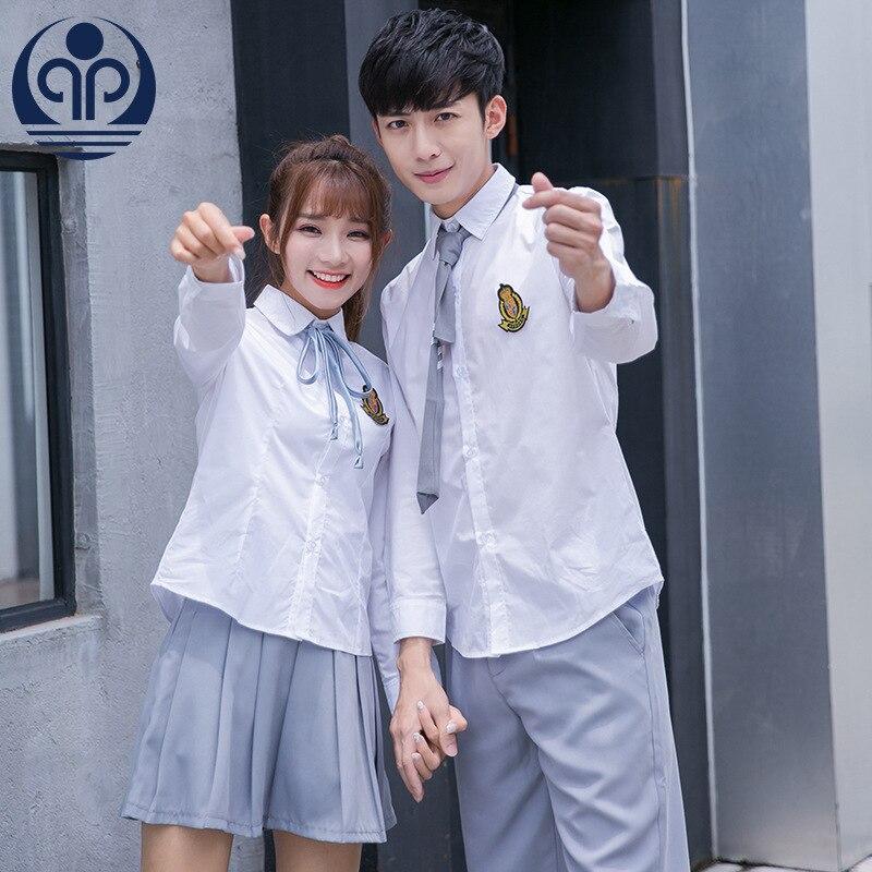 Korean-style Men And Women Students Couples School Uniform Business Attire JK Uniform Sailor Suit White Shirt Pleated Skirt Work