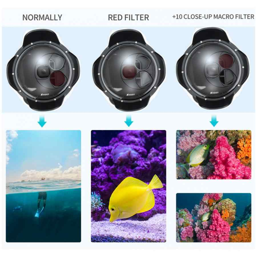 SHOOT subacuática Dome puerto para GoPro Hero 7 6 5 negro con flotador Grip funda impermeable lentes parasol Dome Go Pro 6 5 7 accesorio