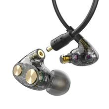 Hallo-Res Studio Monitor Kopfhörer Triple Hybrid Fahrer Kopfhörer Mic Hohe Fidelity Auflösung Koaxial Abnehmbare Stecker Ohrhörer