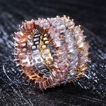 Huitan Irregular Full Of Cubic Zircon Rose Gold Silver Three Color Available Women Ring Fashion Jewelry Accessories