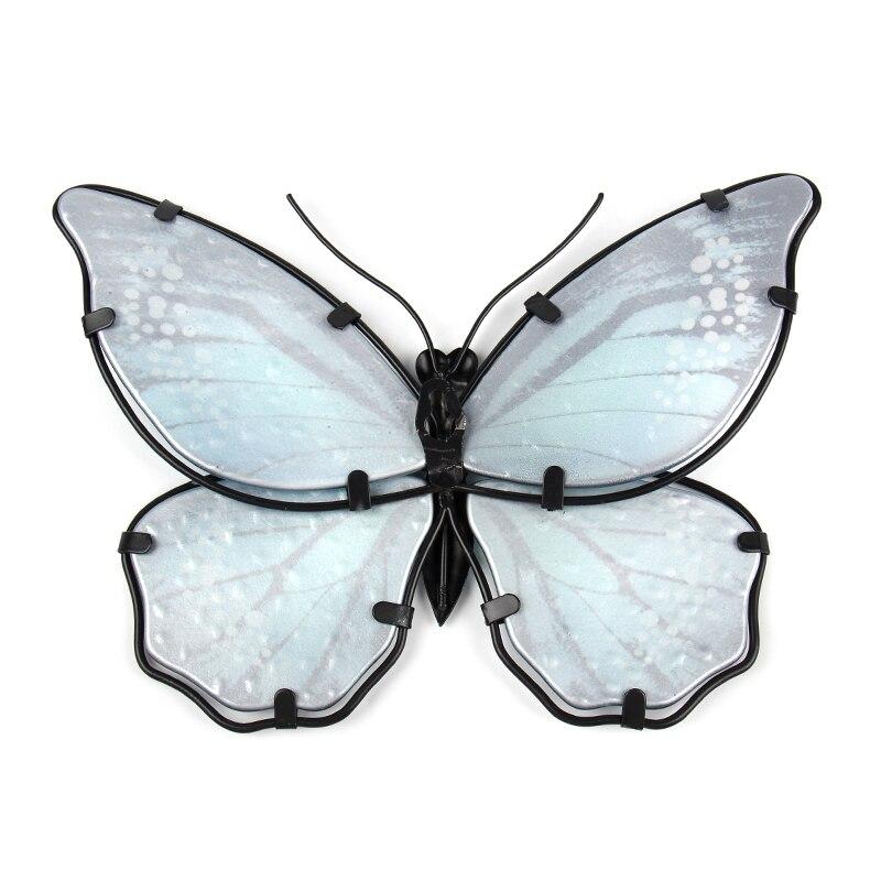 Синий металл бабочка стена украшение для дома и сада украшения миниатюр животных на открытом воздухе статуи и скульптуры для двора