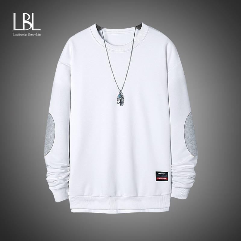 LBL 2020 New Solid Casual Sweatshirt Men Hip Hop Fashion Pullover Mens Sweatshirts Streetwear Harajuku Brand Tops Size M-4XL