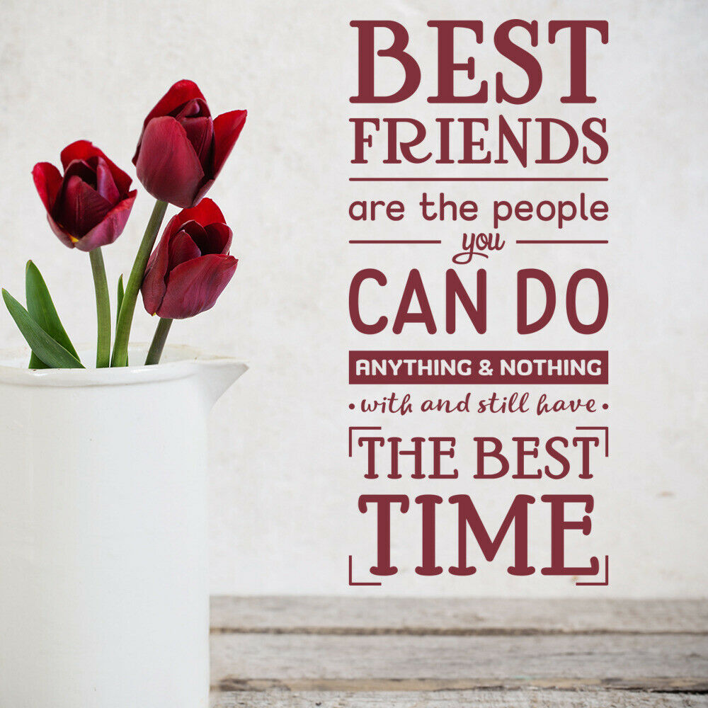 Best Friends Wall Decal Friendship Quote Lettering Vinyl Window Stickers Bedroom Living Room Home Decor School Art Mural M833 image