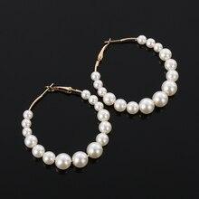 Для женщин элегантные туфли с белыми жемчужинами круглые серьги-кольца для девочек День рождения Большой жемчуг круглые серьги для свадьбы, помолвки ювелирные изделия