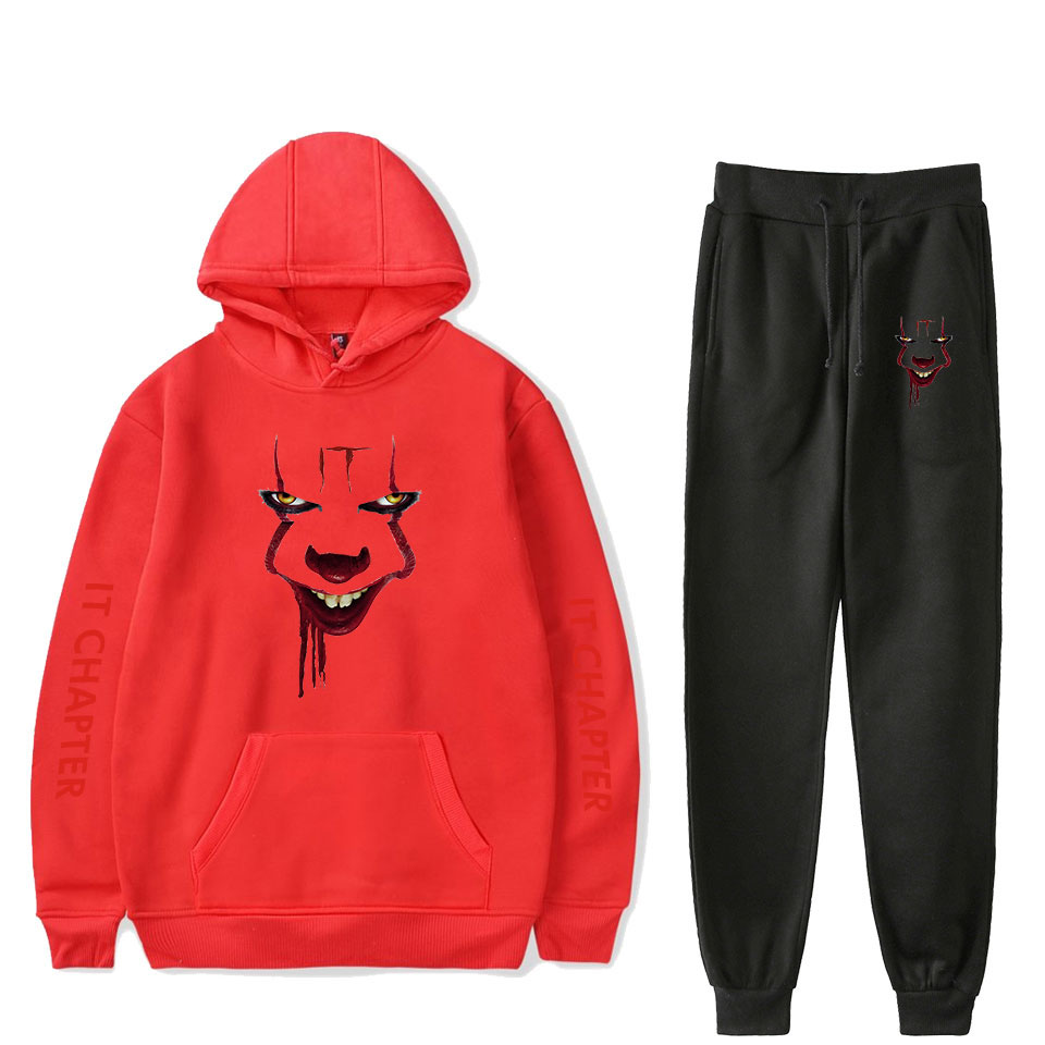2019 It: Chapter Two Fashion Long-sleeved Hooded Sweater It: Chapter Two 2Pcs Women/Men Tracksuit Hoodies Pants Wear Suit Cool