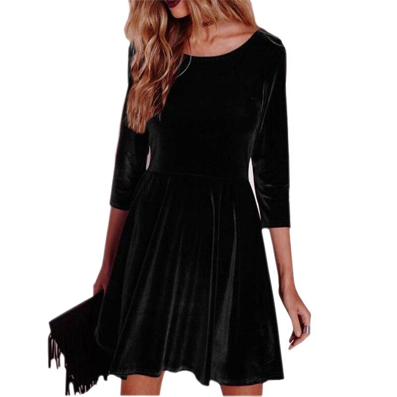 Vestido de veludo feminino inverno quente vestido de outono três quartos o-pescoço vestidos de festa sólidos sexy mini a line robe mujer femininos lx138