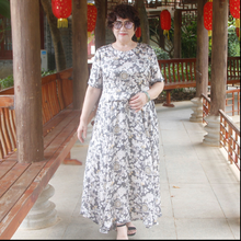 Middle Aged Women Floral Print Party Dress 7XL Plus Size Summer O-Neck Belted Pleated Dress Elegant Ladies Maxi Long Dress FC659(China)