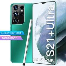 Uitra-teléfono inteligente S21 +, versión Global, 6,7 pulgadas, Galaxy, 6800Mah, Batería grande de iones de litio, 16 + 512G, Android, 32MP + cámara de 50MP
