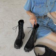 Modne buty motocyklowe kliny płaskie buty kobieta szpilki platforma PU skórzane buty zasznurować buty damskie czarne buty dziewczyny tanie tanio TRY JADE CN (pochodzenie) Połowy łydki Wiązanej krzyżowe Stałe 8725 Dla dorosłych Kopyt obcasy Podstawowe Okrągły nosek
