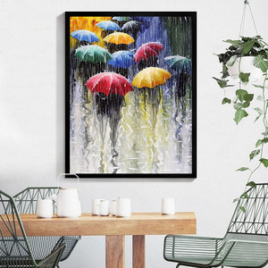 40*50cm DIY Oil Painting By Numbers No Frame Rainny Days Picture Art Craft for Home Decors Living Room Artworks