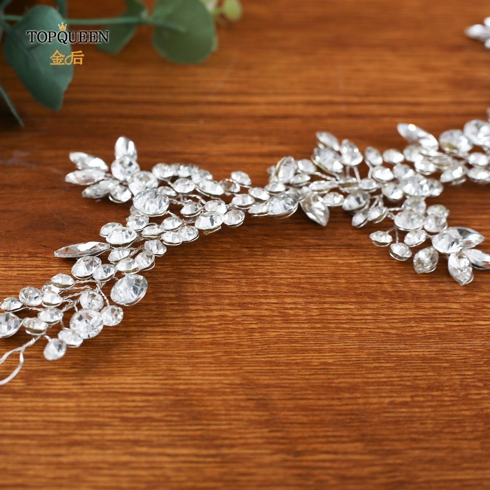 Image 5 - TOPQUEEN HP259 wedding hairpiece crystal headband woman hairband tiaras and crowns for women rhinestone hair vine wedding tiara-in Bridal Headwear from Weddings & Events