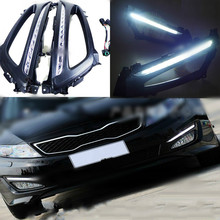 цена на 1 Set Car LED For Kia Optima K5 2011 2012 2013 2014 DRL Daytime Running Light Daylight With Yellow Turn Signal