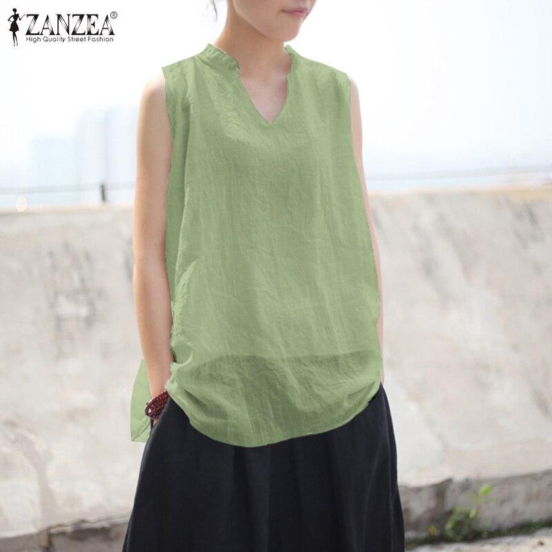 Elegant Cotton Tank Tops Women's Summer Blouse 2020 ZANZEA Casual Sleeveless V Neck Blusas Female Solid Tops Plus Size Chemise Blouses & Shirts  - AliExpress
