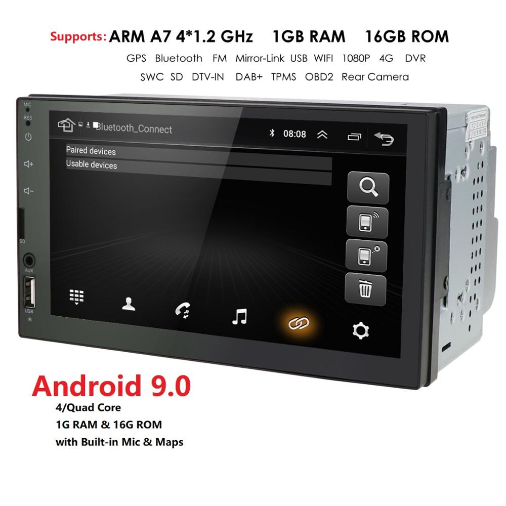 Android 9.0 Universal Double 2 DIN Car GPS Player Stereo Head Unit 7